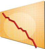 Financial chart. Financial line chart on grid background, going down Stock Photo