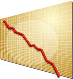 Financial chart. Financial line chart on grid background, going down Royalty Free Stock Photos