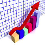 Financial chart. 3d chart with colorful cubes and a raising red arrow Royalty Free Stock Image