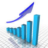 Financial Chart. 3d chart with blue cubes and a raising arrow Stock Photo