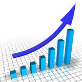 Financial Chart. 3d chart with blue cubes and a raising arrow Royalty Free Stock Photo