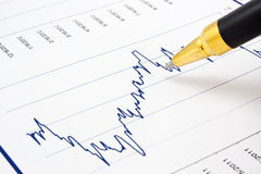 Financial chart with ballpoint pen Royalty Free Stock Image