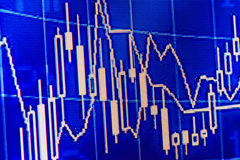 Financial chart blue. With white lines Stock Images