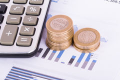 Financial Chart with Calculator and Coins Royalty Free Stock Images