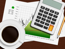 Financial chart, calculator and pencil lying on wooden desk in o Stock Photos