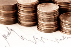 Financial chart and coins. Some euro coins on a financial chart stock photos
