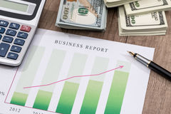 Financial chart, dollar, calculator and pen Stock Images