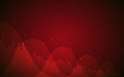 Financial chart with downtrend line graph, bar chart and stock numbers in bull market on gradient red color background. Financial chart with downtrend line graph Stock Photo