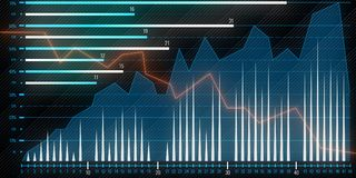 Financial chart. With forex graphs in motion on dark abstract background. 3D render Royalty Free Stock Image