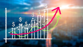 Financial chart and graphs on city background. Financial draw chart and graphs on blur image city background Royalty Free Stock Photo