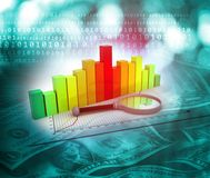 Financial chart and graphs. Background. Stock market analysis. 3d render Royalty Free Stock Photo