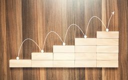 Financial chart. Growth concept. Financial chart with wood blocks. Growth concept Stock Photography