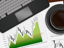 Financial chart, laptop and coffee lying on desk in office. Financial chart, laptop and coffee lying on wooden desk in office Stock Photography