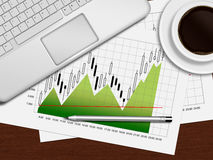 Financial chart, laptop and coffee lying on desk in office. Financial chart, laptop and coffee lying on wooden desk in office Stock Photos