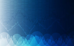 Financial chart with line graph, bar chart and stock numbers on gradient blue color background Stock Photo