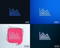Financial chart line icon. Finance graph. Glitch, Neon effect. Financial chart line icon. Economic graph sign. Stock exchange symbol. Business investment Royalty Free Stock Photo