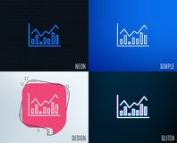 Financial chart line icon. Finance graph. Glitch, Neon effect. Financial chart line icon. Economic graph sign. Stock exchange symbol. Business investment Stock Photography