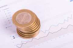Financial Chart with Money Royalty Free Stock Photo