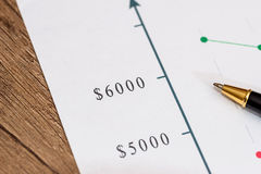 Financial chart with pen. Analyzing financial chart with pen Stock Image