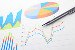 Financial chart and pen Stock Photography