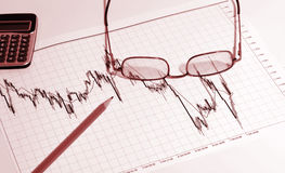 Financial chart and pencil Royalty Free Stock Images