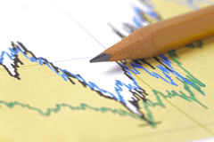 Financial chart with pencil and table sheet Royalty Free Stock Photography