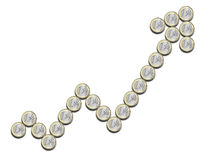 Financial chart positive, done with euro coins. On a white background Stock Photography