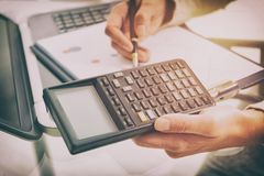 Financial chart report concept with calculator Royalty Free Stock Photo