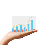 Financial chart symbols coming from  hand. Financial chart symbols coming from a hand Stock Photos