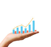 Financial chart symbols coming from  hand. Financial chart symbols coming from a hand Royalty Free Stock Image