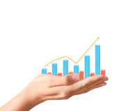 Financial chart symbols coming from  hand. Financial chart symbols coming from a hand Royalty Free Stock Photos