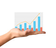 Financial chart symbols coming from  hand. Financial chart symbols coming from a hand Stock Photo