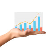 Financial chart symbols coming from  hand. Financial chart symbols coming from a hand Stock Images