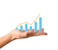 Financial chart symbols coming from  hand. Financial chart symbols coming from a hand Royalty Free Stock Photo