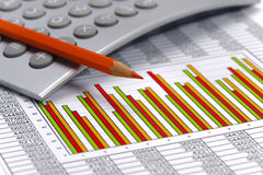Financial chart on table of data Royalty Free Stock Photos