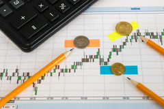 Financial chart on a white background with calculator, coins, pens, pencils and coins on a sticker. Financial chart on a white background with calculator, coins Stock Image