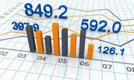 Financial charts. Financial bar charts and graphs Stock Images