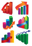 Financial Charts. A collection of Vector stock diagrams and pie charts on a white background Stock Image