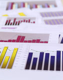 Financial charts. Multiple charts on top of each other Stock Photography