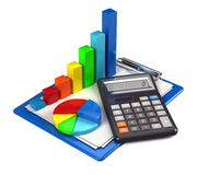 Financial charts. Calculator and clapper board Stock Photos