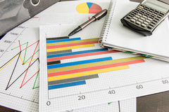 Financial charts , Calculator , Document file , pen on the table Royalty Free Stock Photo