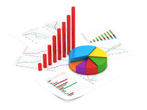 Financial charts. 3D illustration of financial diagram and pie chart with sheets of report Royalty Free Stock Photography
