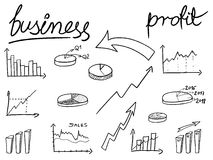 Financial charts doodle. Illustration - sketchy style bar charts, pie charts. Business objects Stock Photography