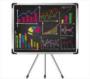 Financial charts on the flip chart Stock Images