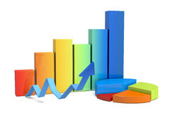 Financial charts. Front view of financial charts (3d render Royalty Free Stock Photos