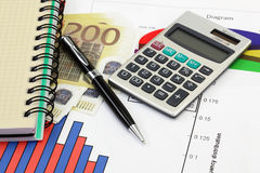 Financial charts and graphs Stock Image