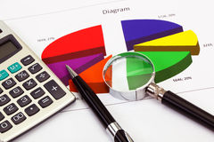 Financial charts and graphs Stock Images