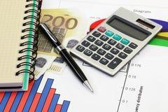 Financial charts and graphs Stock Image