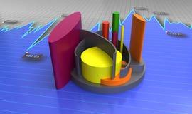Financial charts and graphs. Modern financial bar and charts Royalty Free Stock Image