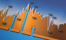 Financial charts and graphs. Business financial bar and charts Stock Images